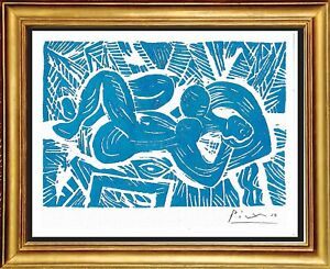"Pablo Picasso Hand Signed Ltd Edition Print ""Reclining Nude"" with/COA (unframed)"