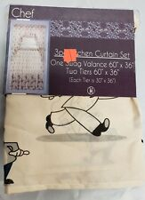 """Kitchen Curtains Set: 2 Tiers & Swag (60""""x 36"""") Small Funny Fat Chefs, beige, Vh"""