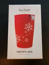 Tea Forte Kati Red Snowflake Steeping Tea Cup With Infuser Christmas Winter 6631