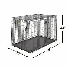 """NEW Extra Large Metal Dog Cage Kennel Pen Crate Tray Folds 48""""Lx30""""Wx33""""H 2 Door"""