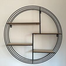 Retro Round Metal And Wood Wall Shelf Boys Bath Room Industrial Metal Wall Shelf