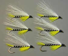 Black Ghost Bucktail Streamer Trout Flies - 6 Fly MULTI-PACK - Sizes 4, 6, and 8