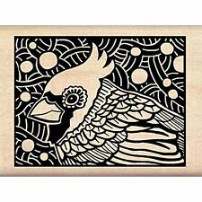 Inkadinkado Cardinal Woodcut Wood Stamp Bird Scrapbooking