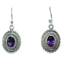 Amethyst gemstone Dangle earrings Jewelry 4.52 gms 925 Sterling Sliver