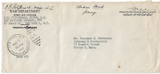 1944 Army Air Corps Major Free Frank on War Department Envelope to Boston