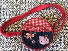 Sanrio Hello Kitty Cute Circle Bag Denim Red Check Embroidered Appliqué w Strap