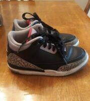 Nike Air Jordan 3 Retro Black Cement Kids Shoes Size 1Y