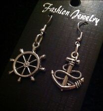 Anchor Rudder Earrings Nautical Rockabilly Charm Boat Steering Wheel Vintage*UK*