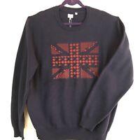 BEN SHERMAN Men's Sweater 2XL Navy Red Long Sleeve Crew Union Jack Gift NEW #707