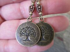 Bronze Wicca Copper Bead Tree of Life Handcrafted Artisan Earrings