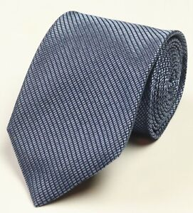 New Mens Canali Blue Textured Narrow Stripe 100% Silk Neck Tie Made In Italy