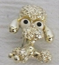 "Poodle Pin Brooch By Gerrys Vtg Goldtone 1"" Big Eyes"