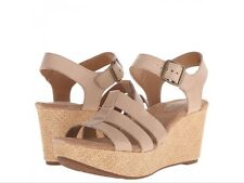 NEW🌹Clarks🌹Size 5.5 E Fit Caslynn Harp Tan Beige Leather Wedge Sandals (EU 39)
