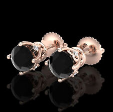 1.26 CTW Fancy Black Diamond Solitaire Art Deco Stud Earrings 18K Rose Gold