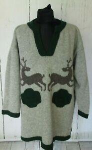 VTG Ladies ORTRUD RAINER Grey Reindeers Pure Wool Novelty Tunic Size XL (17b)