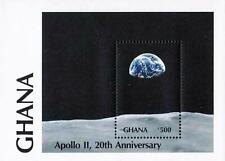 Ghana 1989 Apollo 11 Anniv. S/Sheet (block) Mnh Cv$4.25 Space/Astronomy