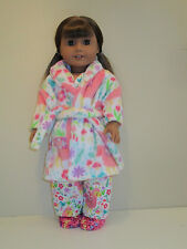 "Llamas/Pink Pajama/Fleece Robe/Slippers Set 18"" Doll Clothes American Girl"