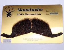 MILITARY OFFICER Colonel Major Marshal 100% Men's Brown HUMAN HAIR MOUSTACHE New