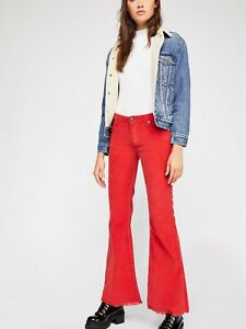 Free People Women's Red Vintage Cord Flare Pants Size 28 Corduroy