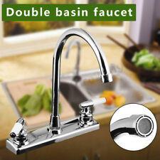 Double Holes and Handles Kitchen Faucet Hot Cold Basin Sink Mixer Water Tap US /