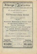 Stampa antica pubblicità ALBERGO FALCONE Milano Duomo 1889 Old antique print