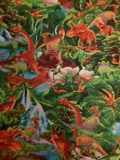 Dinosaur Cotton Fabric Colourful Bright Scene Fat Quarter