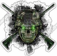 "Skull Army Helmet Marines Military Gun Car Bumper Vinyl Sticker Decal 4.6"""
