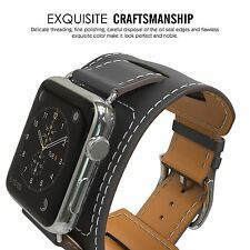 Replacement Genuine Leather Wrist Strap Band for Apple Watch Series 4 3 2 1