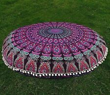 "Ottoman Cushion Cover Floral 32"" Inches Mandala Fabric Pouf Footstool Cotton Art"