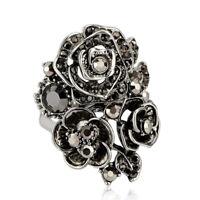 Gorgeous Women Wedding Engagement Ring 925 Silver Black Sapphire Ring Size 6-10