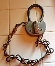 Antique Adlake Railroad Switch Padlock with Chain GB-4 - no Key
