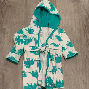 Carters Just For You Baby Bathrobe Sz 0 - 9 Months Turquoise Dinosaur Belted