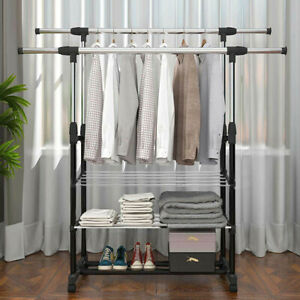 Double Rail Adjustable Portable Clothes Display Hanger Shoes Rack  With Wheels