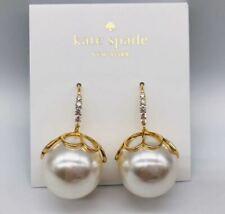 Kate Spade Large Pearl Earrings NWT Pearlette Drop Pearl Gold Floral Cap