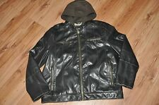 Levis Faux Leather Bomber Jacket Size Mens XL Sherpa Lined Hoodie Motorcycle