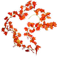 5x 2 Meters Red Maple Leaves Autumn Leaf Artificial Fall Vine Foliage Home Décor