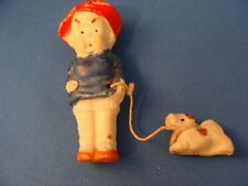 Antique Tiny Bisque Boy Doll with His Dog Japan