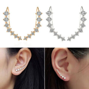 Women Rhinestone Ear Crawler Hook Earrings Ear Wrap Climbers Earrings Jewelry