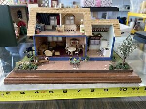 Dollhouse Miniature Blue House 1:48 Great Attention To Detail