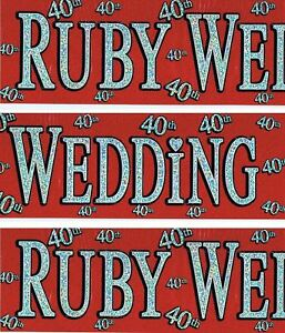 40th Glitz Wedding Anniversary Foil Banner Party Decorations Unisex Party Supply