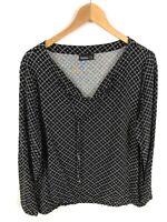 JANINA Damen Bluse, Shirt, Größe 42, schwarz-weiß, gemustert, locker, lässig