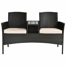 Patio Wicker Loveseat Outdoor Rattan Bench Furniture w/ Tea Coffee Table Cushion