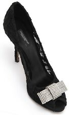 7ced3999a34 DOLCE   GABBANA Pump Black Lace Satin Rhinestone Bow Peep Toe Leather Sz  39.5