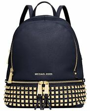 Michael Kors Rhea Zip Medium Stud Backpack Navy Blue Leather & Dust Bag  NWT 🦋