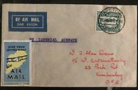 1932 Capetown South Africa Airmail Cover to Kimberley Label Imperial Airways