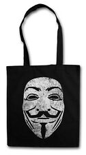 GUY FAWKES MASK HIPSTER BAG - Stofftasche Stoffbeutel Jutebeutel - Anonymous