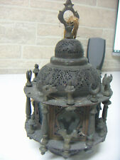 VINTAGE ANTIQUE ARABIC ISLAMIC MOROCCAN MIDDLE EAST OTTOMAN BRASS BRONZE LAMP