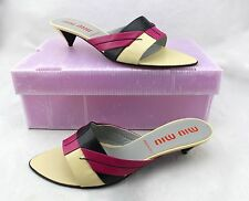 $595 MIU MIU Calzatore Donna Pink Black Tan Slides Mules Heels 11 New Italy