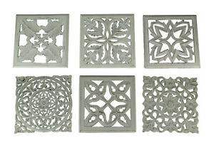 White Distressed Wood Decorative Scrollwork Wall Sculptures Set of 6