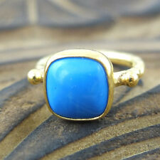 Handmade Turkish Designer Square Turquoise Ring 24K Gold Over Sterling Silver